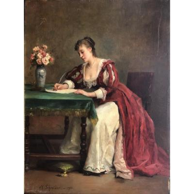 <em><strong>&quot;The love letter&quot;<br /> oil on panel, signed on bottom left,dated 1901<br /> dim: 33 x 24 cm</strong></em><br /> <br /> Born in Paris died in 1903, French, genre painter, figures, portraits, interiors. He was a pupil of Bonnat and Brandon. He started at the Paris salon in 1869 and obtained an honorable mention in 1901. Reims Museum: young Italian knitting<br /> <em><strong>full catalog on:<br /> ww.nice-antiques.com</strong></em>