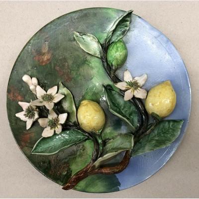 """longchamp Barbotine"" Decorative Ceramic Plate. Decoration Of Lemons In High Relief, Enamels"