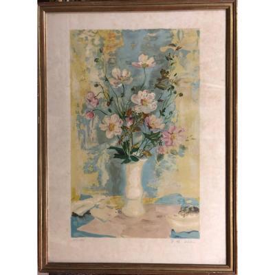 Le Pho (1907-2001) , Fleurs de pommiers dans un vase blanc (c.1955)