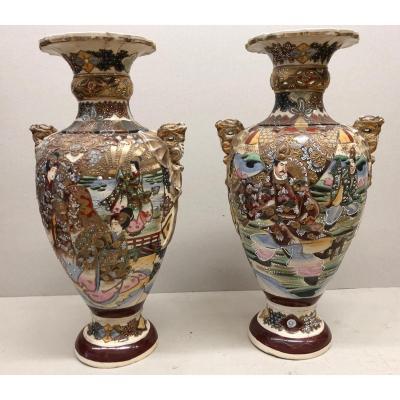 Paire De Vases Satsuma Fin XIX° Céramique Hauteur 56 Cm