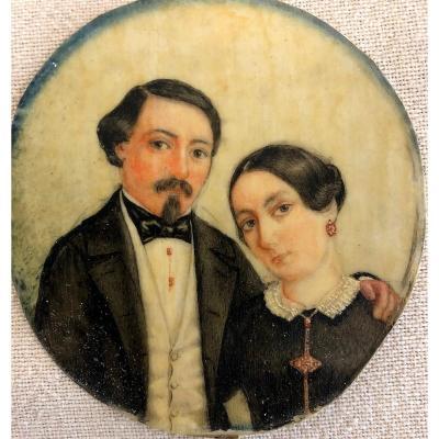 """Miniature sur ivoire représentant """"Un couple romantique"""""""