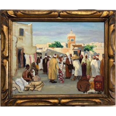 """Micheline CANNAUT-UTZ (1900- ?) """"Marché arabe à Tunis"""""""