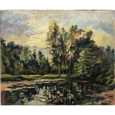 """Paul Émile Pissarro (1884-1972) Attributed: """"pond"""""""