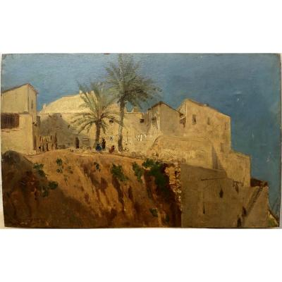 "Eugène Fromentin (1820-1876) Attributed; ""study Of An Algerian Village"""