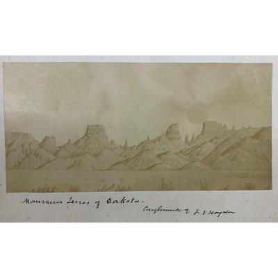 """Ferdinand Vandeveer HAYDEN (1829 — 1887) """"Mauvaises terres du Dakota"""""""