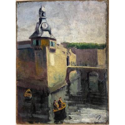 "Olek Teslar (1900-1952): ""closed Town, Concarneau"""