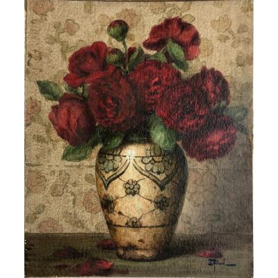 "Ernest Filliard (1868-1933): ""flower Vase"" Watercolor"