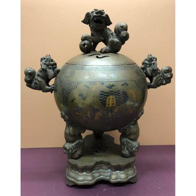 "Vietnam, 19th Century; ""important Niello Bronze Incense Burner"""