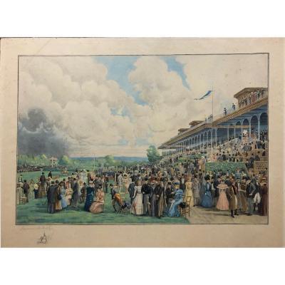 """Raymond Joseph DE FOURNIER-SARLOVEZE (1836-?): """"Les courses d'Auteuil"""""""