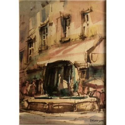 "François Desnoyer (1894-1972): ""provencal Fountain"""