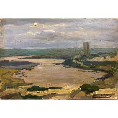 """Jean JULIEN (1888-1974) :""""Oued Abou Regreg et la Tour Hassan"""" Maroc"""