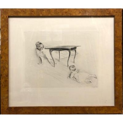 """Paul César Helleu (1859-1927): """"mother And Child Playing"""" Drypoint"""