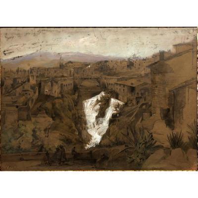 "Karl Ludwig LINCKE (1822-1886) ""Vue de Tivoli, Latium, Italie"""