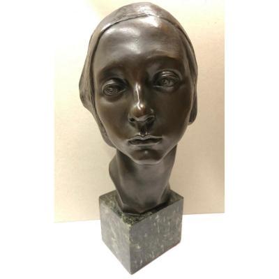 "Luigi De Stefanis (1887-?) ""androgynous Figure With A Beret"", Bronze, Torino"