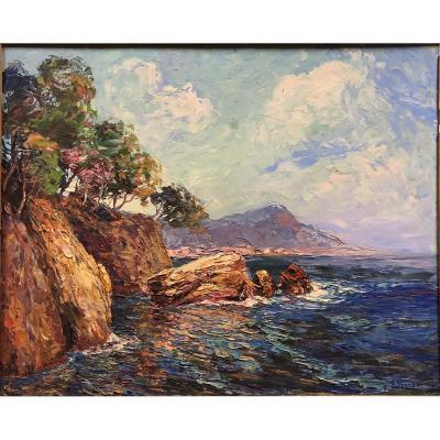 "Pierre Forest (1881-1971): 'seaside Towards Beaulieu, In The Background The Dog's Head Towards Monaco """
