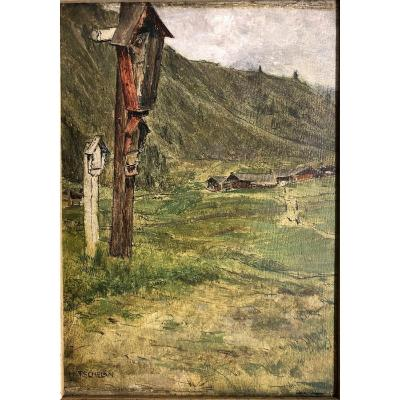 "Hans Tschelan (1873-1964) Austria ""crucifix"""