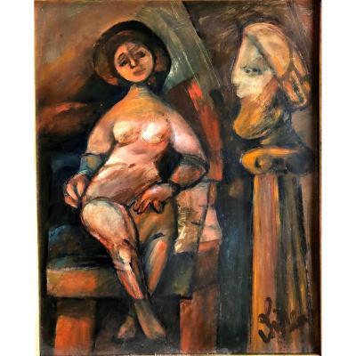 """Eugène Fidler (1910-1990): """"Le modèle dans l'atelier""""; Ecole de Paris, céramiste"""