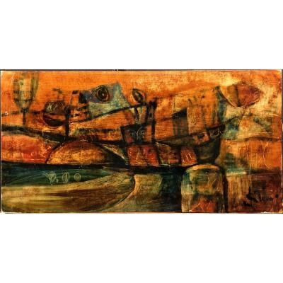 """Eugène Fidler (1910-1990): """"Le port""""; Ecole de Paris, céramiste"""