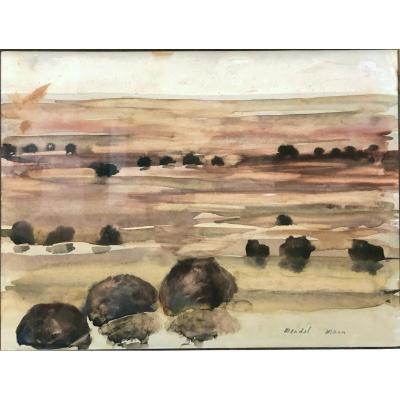"MANN, Mendel , Plonsk, 1916 - Paris, 1975  : ""Paysage imaginé"" Pologne, Yiddish, MAHJ"