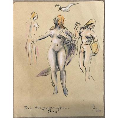"Dessin; Pastel; Expressionisme Allemand; XX° siècle : ""Die wasserjungfrau""; Heckel, Kirchner..."