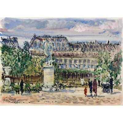 Paris Pittoresque Garabed Momdjian (1922-2006) : « Les Tuileries » 1958; Post-impressioniste