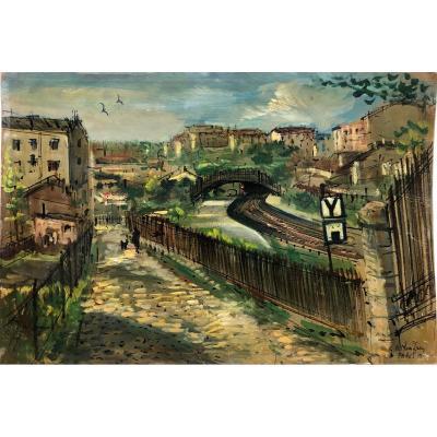 Paris Pittoresque Garabed Momdjian (1922-2006) : « Menilmontant » 1958; Post-impressioniste