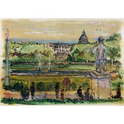 Paris Pittoresque Garabed Momdjian (1922-2006) : « Jardin Luxembourg » 1956; Post-impressionist