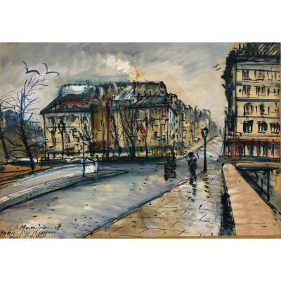 Paris Pittoresque Garabed Momdjian (1922-2006): « Quai Saint Michel » 1949; Post-impressioniste