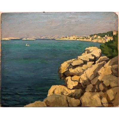 """Moreau Louis 1883-1958 School Of Crozant; """"the Anse Du Prophète In Marseille"""""""