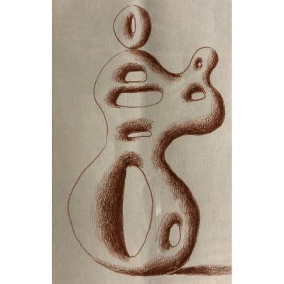 """Lajos BARTA (1899-1986); Hongrie; Magyar; """"Composition surréaliste"""""""