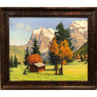 """Hippolyte Mouthier (1880-1975): """"mountain Landscape"""", Painter From Isère."""