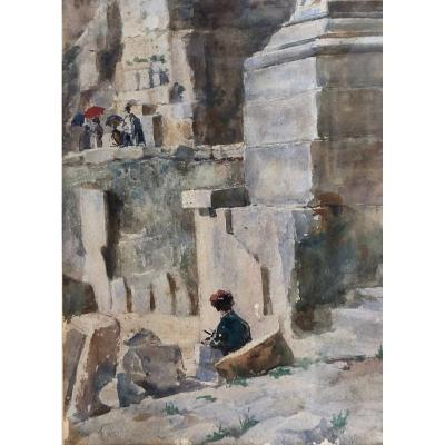 "Da Pozzo Giuseppe (1844 - 1919) Maranzanis De Comeglians -rome ""le Forum Romain"" Watercolour"