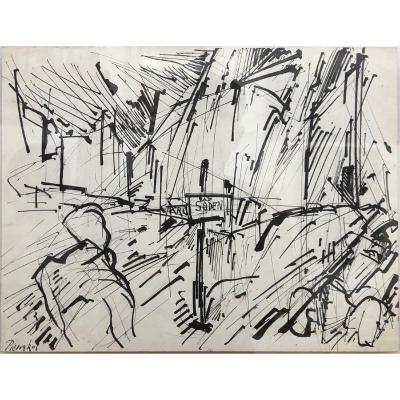 """Alkis Pierrakos (1920-2017) Greek: """"view Of Bad Soden Am Taunus"""", Ink Drawing"""