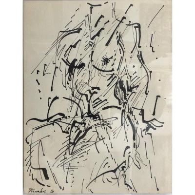 "Alkis Pierrakos (1920-2017) Greek: ""female Nude"", Ink Drawing"