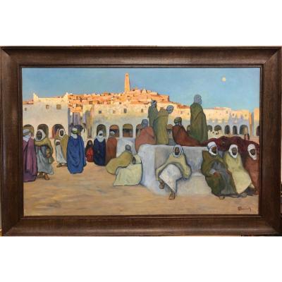 "Bouviolle Maurice (1893-1971) ""animated View Of Ghardaia At Nightfall"" Rare Format!"