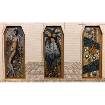 """pointillist Art-deco Project""; Three 20th Century Gouaches"