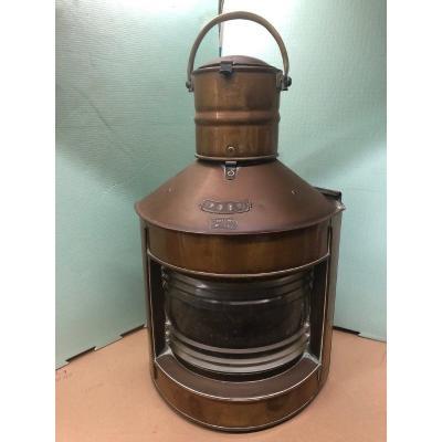 Copper And Brass Corner Boat Lantern 19th; Height 67 Cm