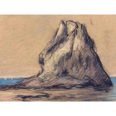 """Francis Picabia (1879-1953) Awarded; """"the Rock Of Mède, Porquerolles"""" Charcoal & Pastel, 1908"""