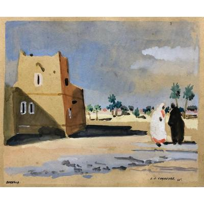 """Louis J. Chareyre (xx °) 2 Gouaches """"views Of Ouargla, Algeria"""""""