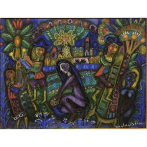 "Louis Marchand Des Raux (1902-2000): ""women And Flowers"" Pastel"
