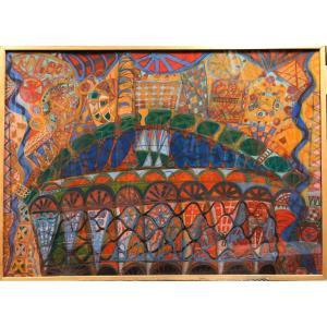 "Luciano LATTANZI (1925-1999) : ""Conposition"",1967 Carrare Italie; Peinture sémantique"