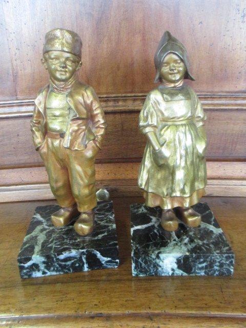 Bronze De d'Asté Jeune Femme Et Jeune Homme