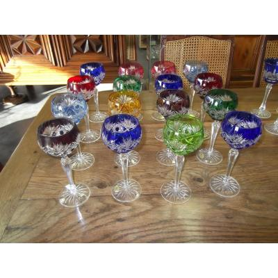 16 Colored Crystal Glasses