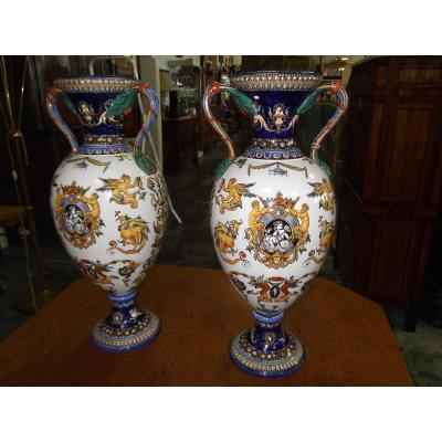 Paire De Vases En Gien