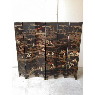 Chinese Screen Epoque Nineteenth 6 Leaves In Lacquer And Hard Stones
