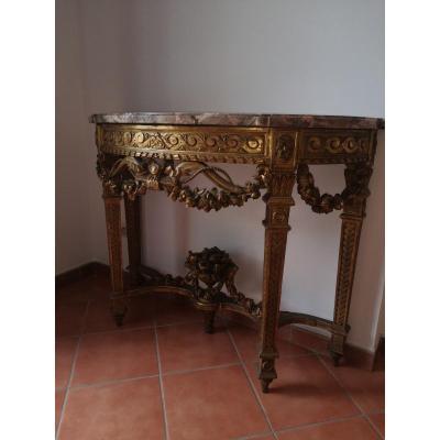 Console XIX  De Style Louis XVI En Bois Dorée