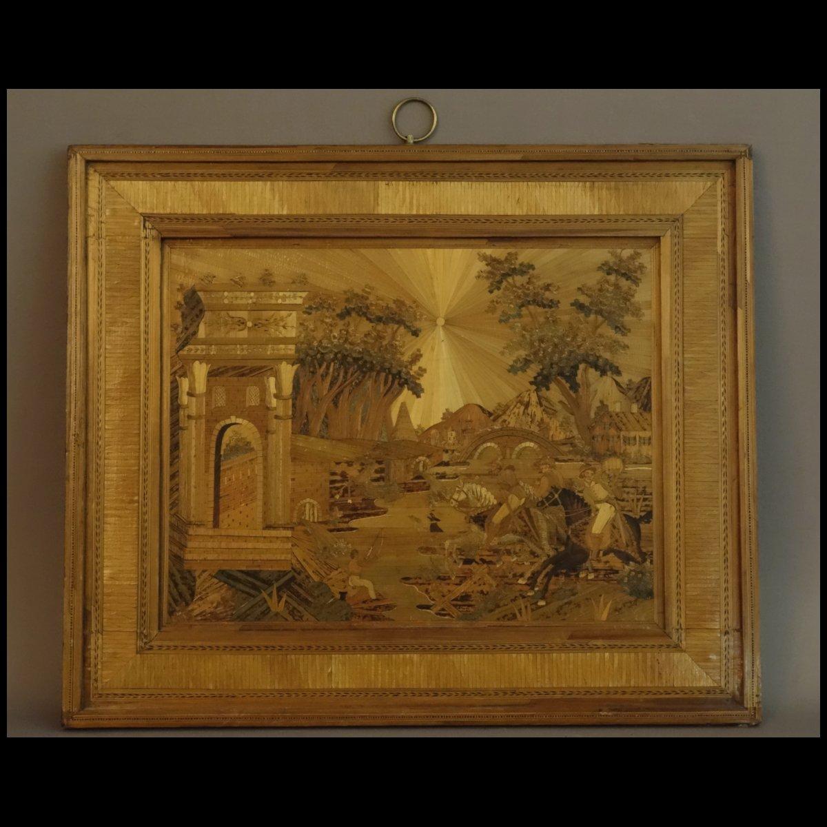 - Grand Tableau De Marqueterie Paille Chasse A Courre Debut XIXème