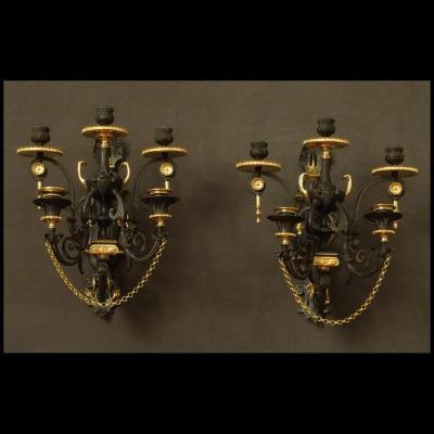Paire De Grandes Appliques à l'Etrusque XIXème