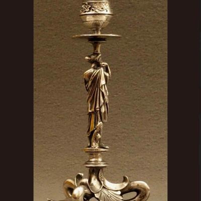 Pair Of Candlesticks In The Antic Style XIXth