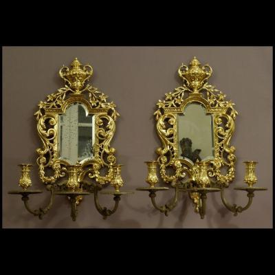 - Paire d'Importantes Appliques Style Louis XIV XIXème